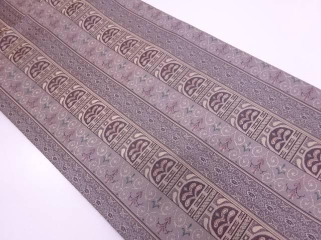【IDN】 未使用品 創喜庵製 縞に抽象模様織出し全通袋帯【リサイクル】【着】