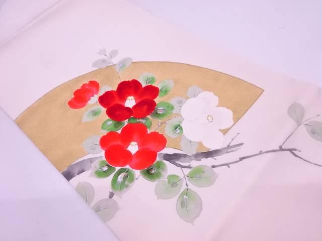 【IDN】 塩瀬手描き地紙に椿模様名古屋帯【リサイクル】【中古】【着】