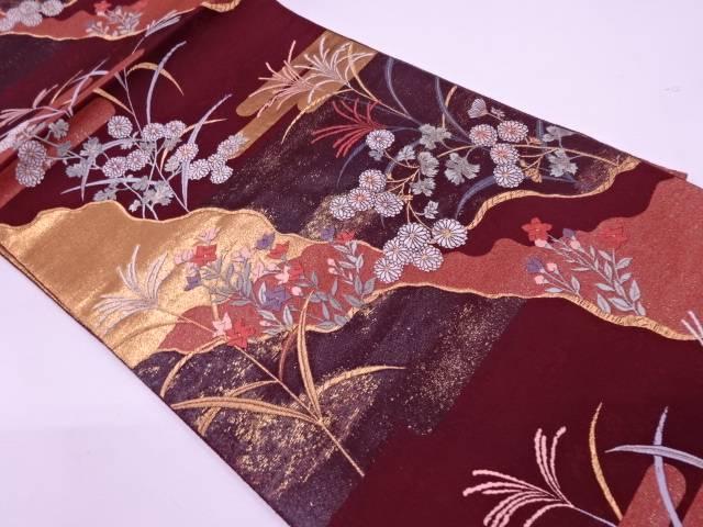 【IDN】 漆引き箔道長取りに草花模様織出し袋帯【リサイクル】【中古】【着】