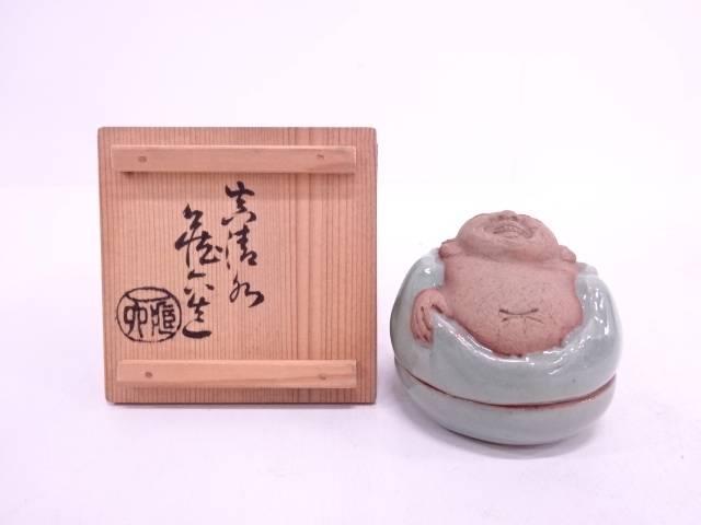 【IDN】 真清水蔵六造 青磁布袋香合【中古】【道】