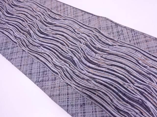 【IDN】 縞に抽象模様織出し袋帯【リサイクル】【中古】【着】