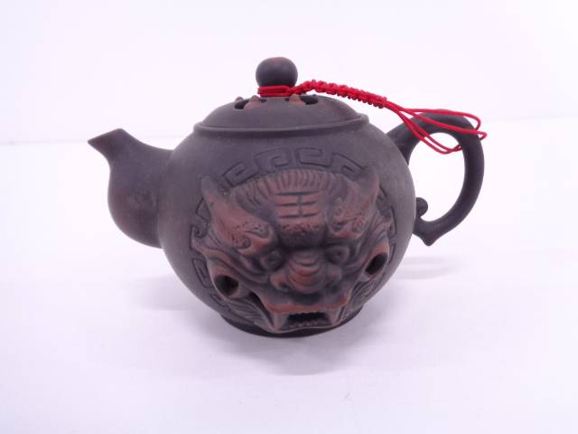 【IDN】 ・委古窯造 獅子紋茶壺【中古】【道】
