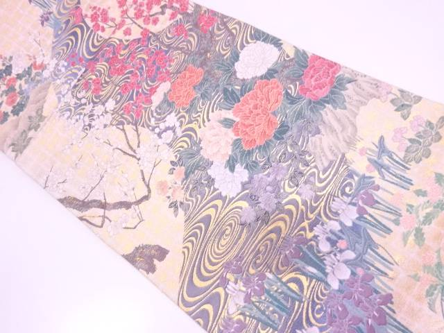 【IDN】 観世水に草花模様織出し袋帯【リサイクル】【中古】【着】