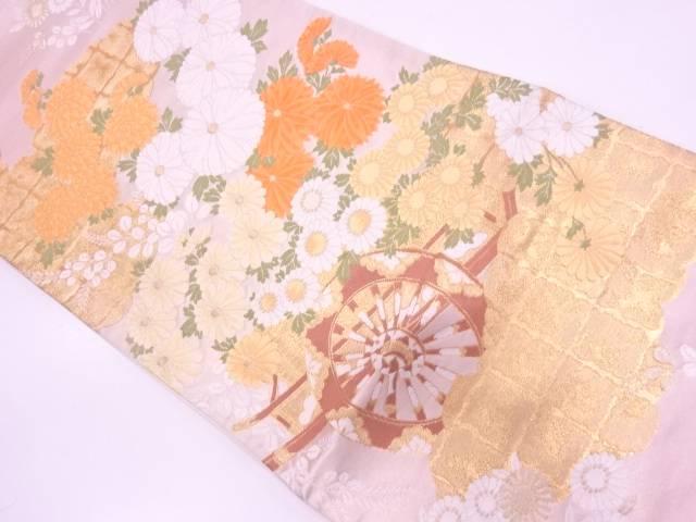【IDN】 雲取に花車模様織出し袋帯【リサイクル】【中古】【着】
