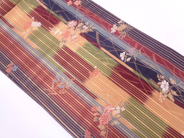 【IDN】 縞に草花模様織出し袋帯(未仕立て)【リサイクル】【中古】【着】