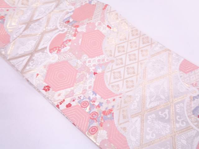 【IDN】 未使用品 古典柄に花鳥模様織出し袋帯【リサイクル】【着】