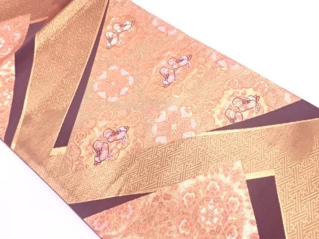 【IDN】 裂取鴛鴦文織出し袋帯【リサイクル】【中古】【着】