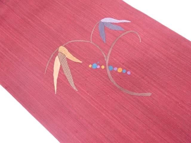 【IDN】 未使用品 草葉模様刺繍名古屋帯【リサイクル】【着】