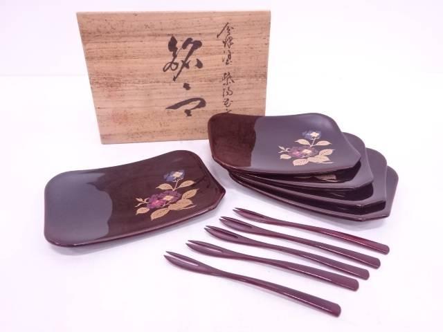 【IDN】 会津塗蒔絵紫陽花文銘々皿5客揃(菓子切付)【中古】【道】