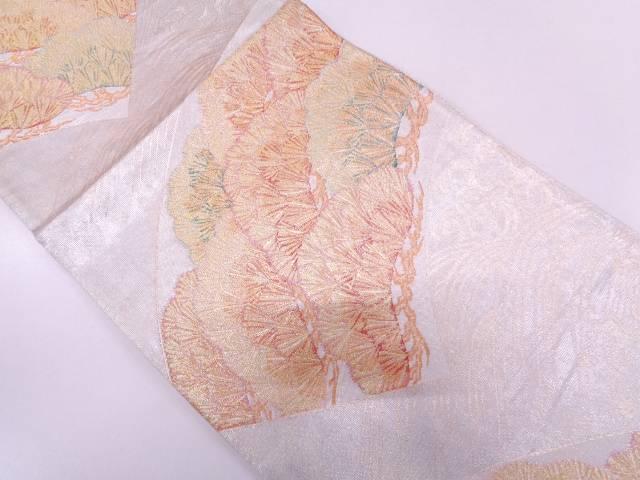 【IDN】 佐賀錦地紙に笠松模様織出し袋帯【リサイクル】【中古】【着】