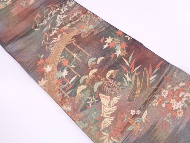 【IDN】 橋に草花模様織出し袋帯【リサイクル】【中古】【着】