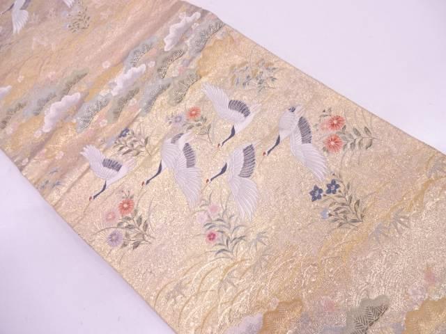 【IDN】 群鶴に草花模様織出し袋帯【リサイクル】【中古】【着】