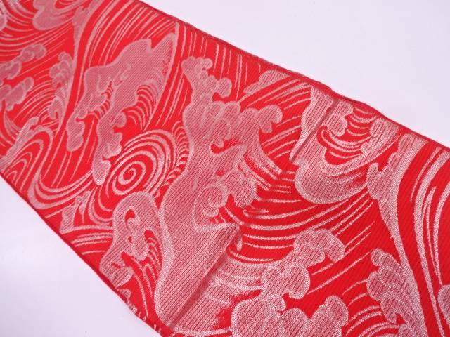 【IDN】 川島織物製 絽荒波模様織出し袋帯【大正ロマン】【中古】【着】