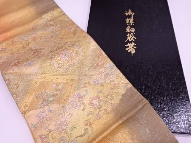 【IDN】 金彩螺鈿雲に花鳥模様織出し袋帯【リサイクル】【中古】【着】