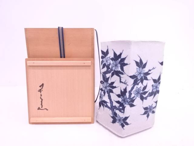 【IDN】 河本五郎造 染付花鳥花瓶【中古】【道】