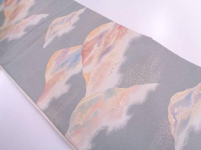 【IDN】 未使用品 砂子綴れ山並みに草花模様織出しリバーシブル袋帯【リサイクル】【着】