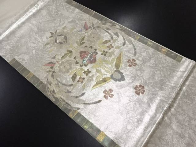 【IDN】 引箔螺鈿 花鳥紋様袋帯【リサイクル】【中古】【着】