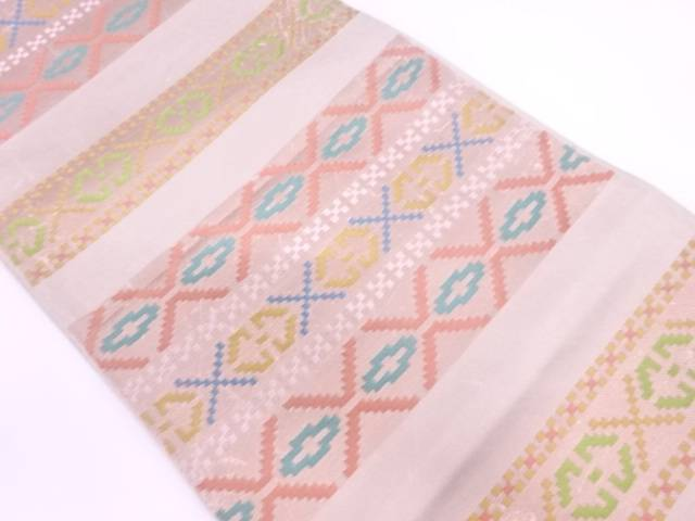 【IDN】 川島織物製 横段に抽象模様織出し袋帯【リサイクル】【中古】【着】