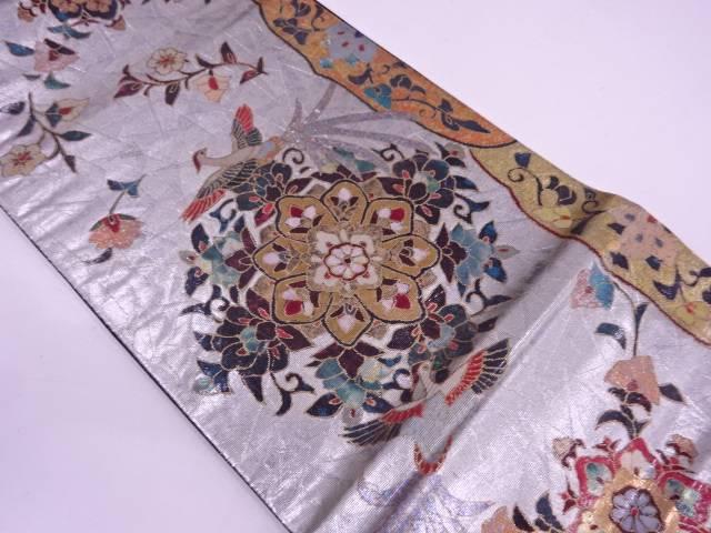 【IDN】 螺鈿華紋に極楽鳥模様袋帯【リサイクル】【中古】【着】