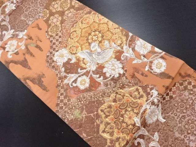 【IDN】 金糸花鳥・唐草模様織り出し漆袋帯【リサイクル】【中古】【着】