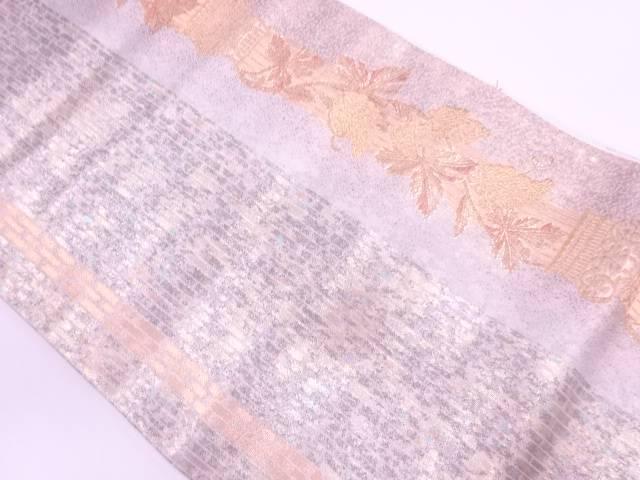 【IDN】 柱に蔦葉模様織出し袋帯【リサイクル】【中古】【着】