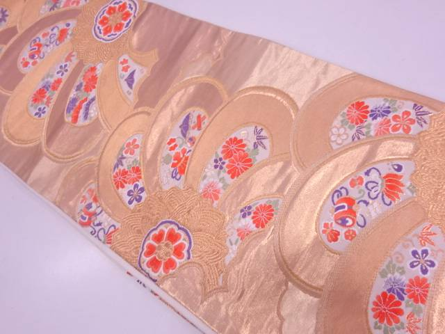 【IDN】 未使用品 花に宝尽くし模様織出し袋帯【リサイクル】【着】