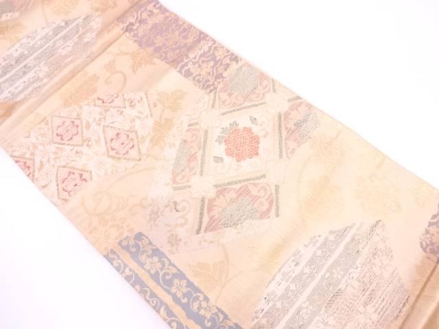 【IDN】 地紙に花唐草模様織出し袋帯【リサイクル】【中古】【着】