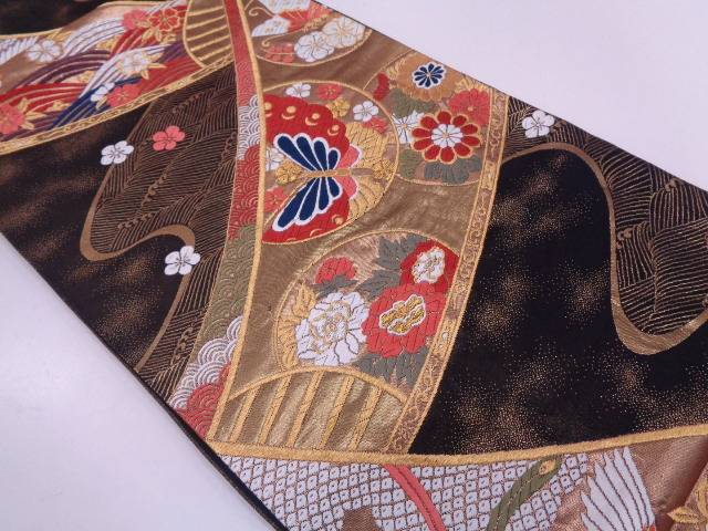 【IDN】 丸紋に蝶・花鳥模様織出し袋帯【リサイクル】【中古】【着】