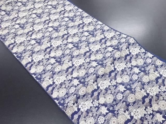 【IDN】 流水に菊桜模様織り出し名古屋帯【リサイクル】【中古】【着】