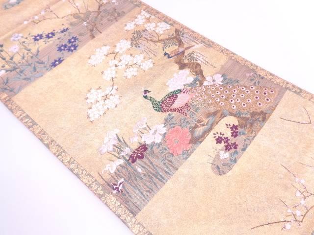 【IDN】 孔雀に草花模様織出し袋帯【リサイクル】【中古】【着】