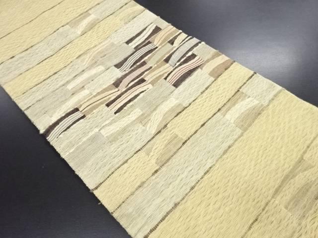 【IDN】 紗すくい織変わり横段模様織り出し名古屋帯【リサイクル】【中古】【着】