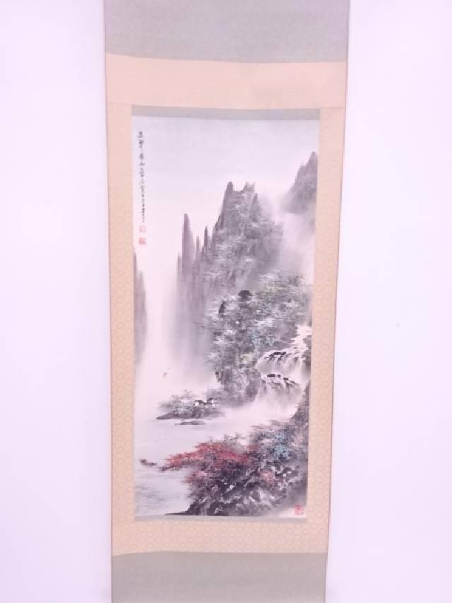 【IDN】 中国画 作家物 滝山水の図 肉筆紙本掛軸【中古】【道】