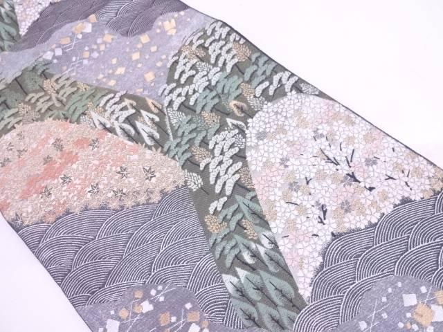 【IDN】 未使用品 服部織物製 山並みに笠松・桜模様織出し袋帯【リサイクル】【着】