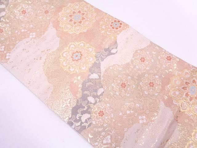 【IDN】 服部織物製 道長取りに華紋模様織出し袋帯【リサイクル】【中古】【着】