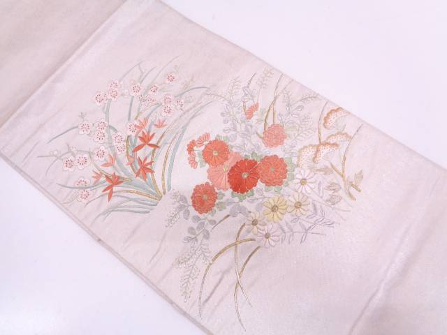 【IDN】 秋草模様刺繍袋帯【リサイクル】【中古】【着】