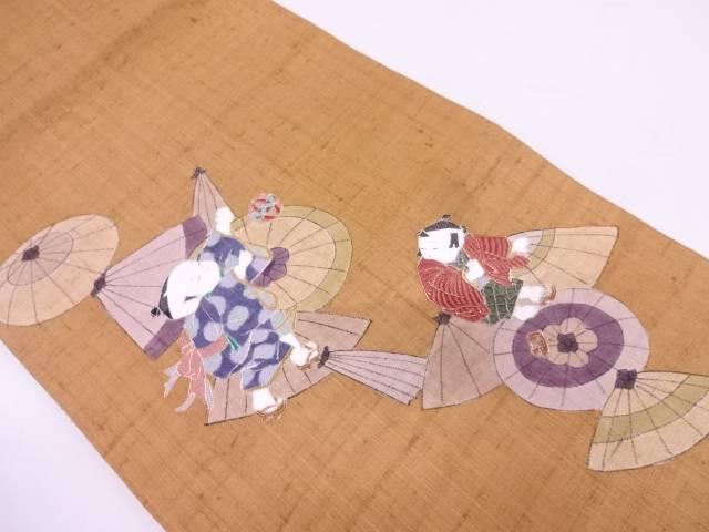 【IDN】 生紬童子に番傘模様刺繍袋帯【リサイクル】【中古】【着】