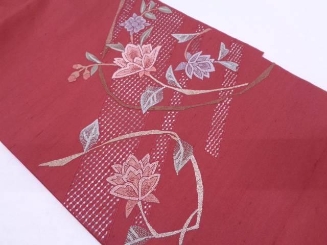 【IDN】 手織り紬汕頭相良刺繍草花模様名古屋帯【リサイクル】【中古】【着】