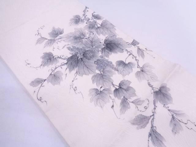 【IDN】 作家物 纐纈手描き葡萄唐草模様袋帯【リサイクル】【中古】【着】