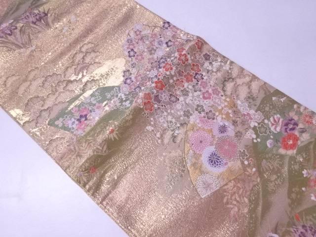 【IDN】 袋帯 金箔 金糸 破れ地紙に古典草花文様【リサイクル】【中古】【着】