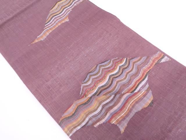 【IDN】 未使用品  紗 すくい織波模様織出し袋帯【リサイクル】【着】