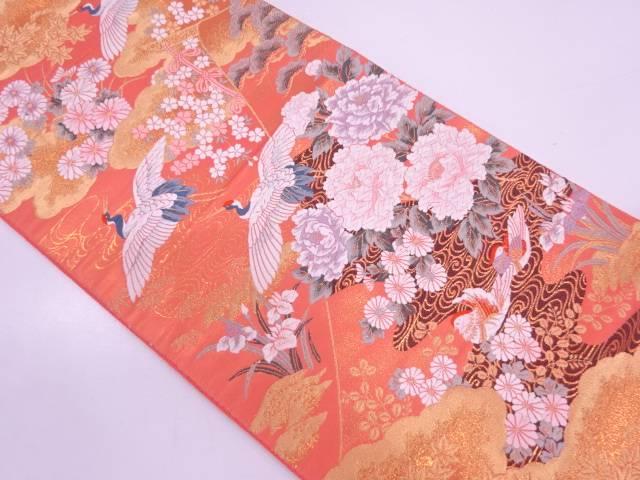 【IDN】 松鶴に草花・鴛鴦模様織出し袋帯【リサイクル】【中古】【着】
