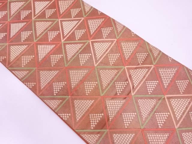 【IDN】 幾何学模様織出し袋帯【リサイクル】【中古】【着】