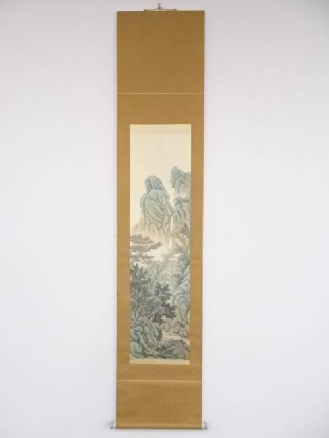 【IDN】 日本画 翠光筆 深山幽居図 肉筆絹本掛軸【中古】【道】