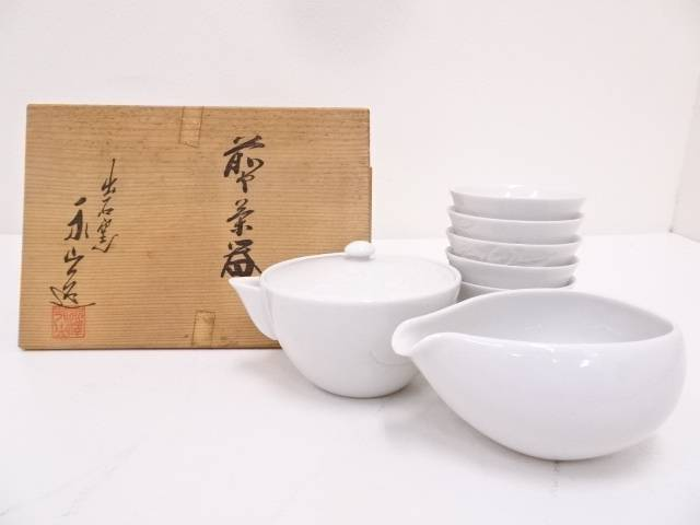 【IDN】 出石焼 永澤永山造 白磁煎茶器セット【中古】【道】