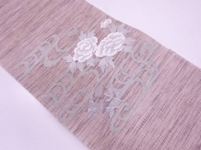【IDN】 未使用品 すくい織牡丹に桔梗模様織出し夏袋帯(未仕立て)【リサイクル】【着】