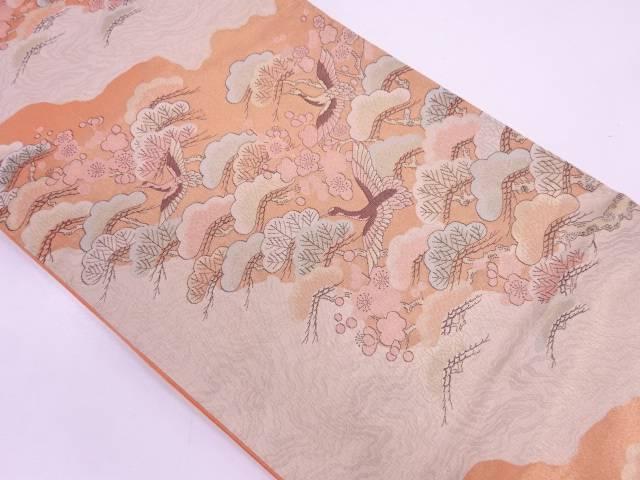 【IDN】 未使用品 織華佐竹製 鶴に松梅模様織出し袋帯(未仕立て)【リサイクル】【着】