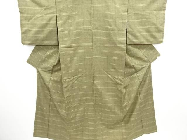 【IDN】 草木染格子織り出し手織り真綿紬着物【リサイクル】【中古】【着】