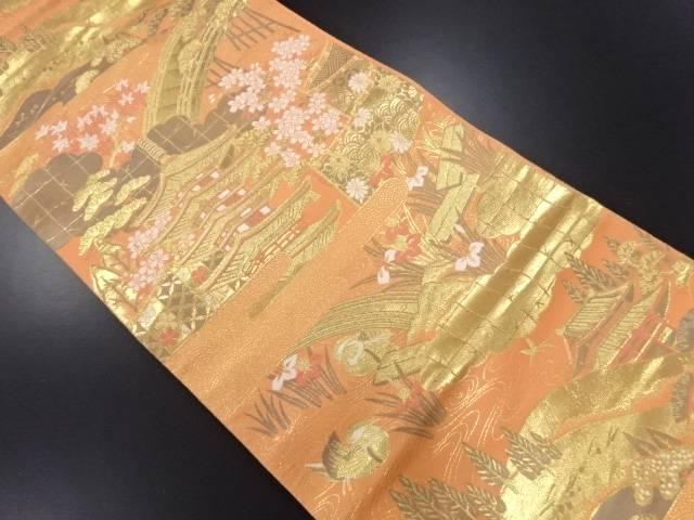 【IDN】 未使用品 本金箔寺塔に桜・八つ橋・杜若模様織り出し袋帯【リサイクル】【着】