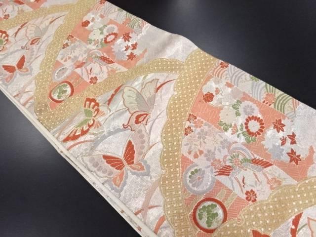 【IDN】 佐賀錦雪芝に蝶・花模様織り出し袋帯【リサイクル】【中古】【着】