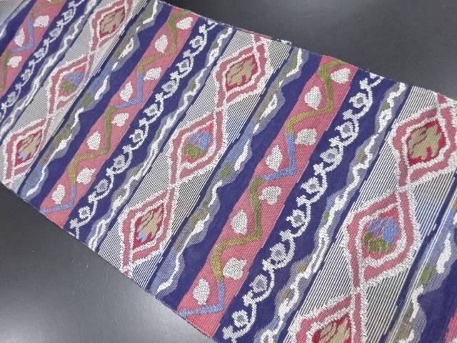 【IDN】 横段に抽象模様織り出し名古屋帯【リサイクル】【中古】【着】